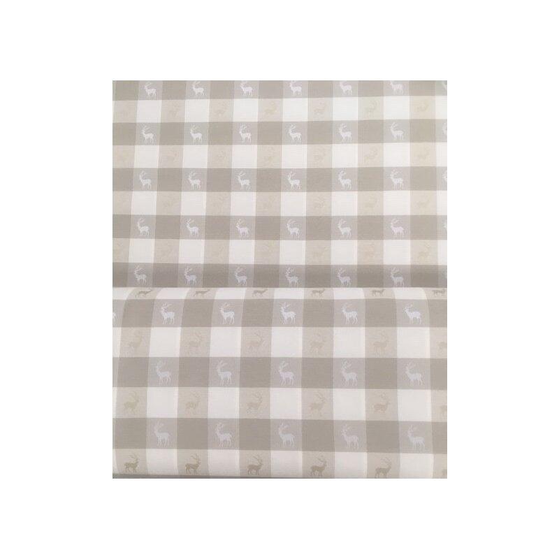 deko stoff vorhang gardine landhaus karo hirsch natur beige meterwar 14 95. Black Bedroom Furniture Sets. Home Design Ideas