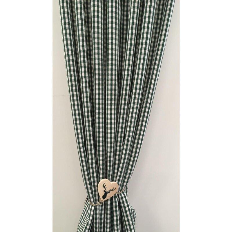 deko stoffe gardine vorhang landhaus karo 6 mm natur gr n blickdicht 18 95. Black Bedroom Furniture Sets. Home Design Ideas